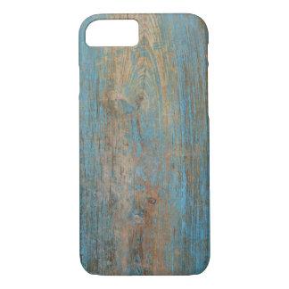 Capa iPhone 8/ 7 Refrigere a textura azul resistida da madeira da