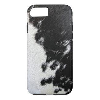 Capa iPhone 8/ 7 Refrigere o couro cru preto e branco da vaca