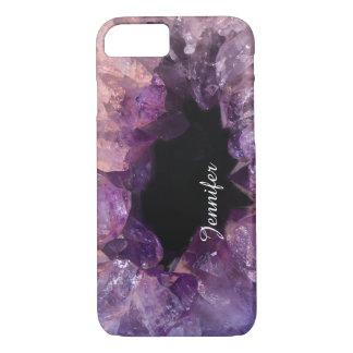 Capa iPhone 8/ 7 Refrigere o nome amethyst roxo do cristal de pedra