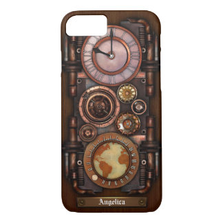 Capa iPhone 8/ 7 Relógio #1B do vintage de Steampunk