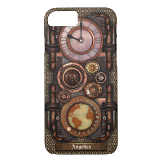 Capa iPhone 8/ 7 Relógio #1C do vintage de Steampunk