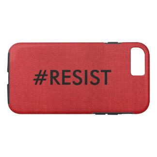 Capa iPhone 8/ 7 #Resist, texto preto na foto de linho vermelha