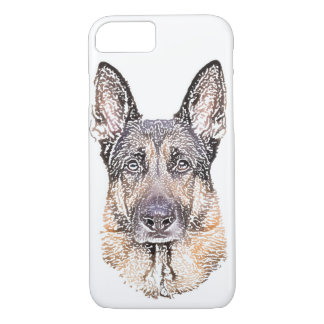 Capa iPhone 8/ 7 Retrato de um esboço colorido do cão de german