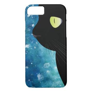 Capa iPhone 8/ 7 Retrato elegante do gato preto na caixa azul do