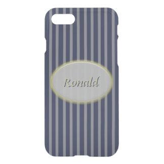 Capa iPhone 8/7 Riscas azuis clássicas azuis e listras cinzentas