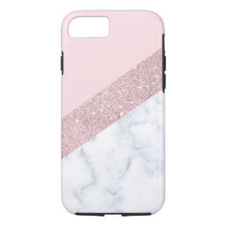 Capa iPhone 8/ 7 rosa de mármore branco do brilho cor-de-rosa