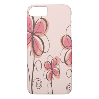 Capa iPhone 8/ 7 Rosa & design das flores do Doodle de Brown