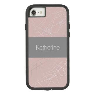 Capa iPhone 8/ 7 Rosa geométrico de prata moderno elegante dos