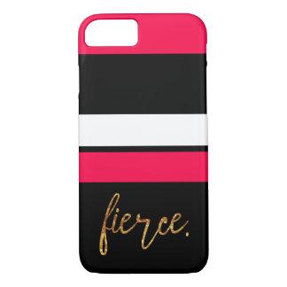 """Capa iPhone 8/ 7 Rosa quente """"feroz"""" e caixa listrada preta"""
