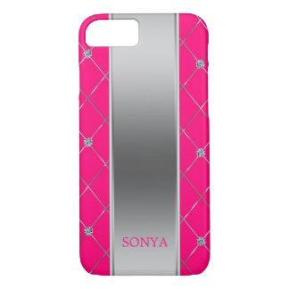 Capa iPhone 8/ 7 Rosa quente moderno e formas geométricas de prata