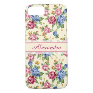 Capa iPhone 8/ 7 Rosa romântico Pastel da flor, vermelho, nome azul