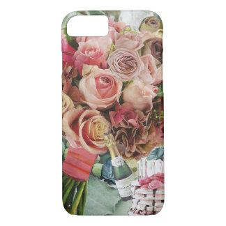 Capa iPhone 8/ 7 Rosas corais no verde enevoado