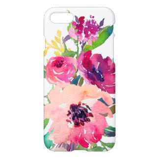 Capa iPhone 8/7 Rosas rosas vermelha florais Zazzle da aguarela