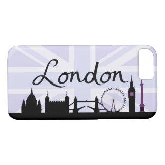 Capa iPhone 8/ 7 Roteiro de Londres no céu de Union Jack & locais