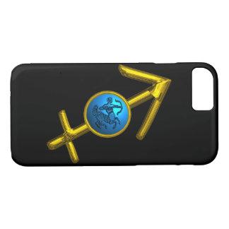 Capa iPhone 8/ 7 SAGITÁRIO do SINAL do ZODÍACO do OURO, turquesa