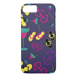Capa iPhone 8/ 7 Sandálias da praia e caso do telemóvel das bebidas