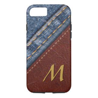 Capa iPhone 8/ 7 Sarja de Nimes na moda e couro do monograma