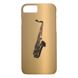 Capa iPhone 8/ 7 Saxofone no efeito de cobre de bronze