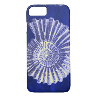 Capa iPhone 8/ 7 seashell branco azul litoral botânico do vintage