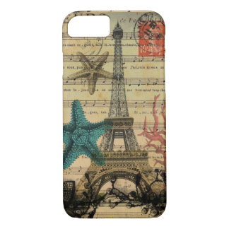 Capa iPhone 8/ 7 seashell da praia da torre Eiffel de Paris do