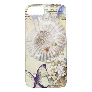 Capa iPhone 8/ 7 Seashell moderno do vintage da borboleta botânica