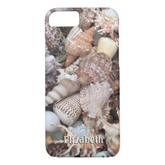 Capa iPhone 8/ 7 Seashells exóticos com seu nome