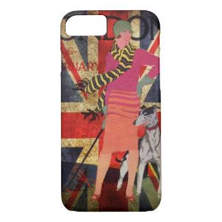 Capa iPhone 8/ 7 Senhora britânica retro Union Jack eu amo Londres