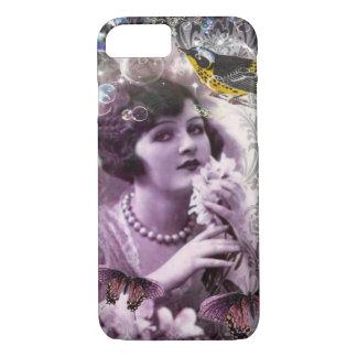 Capa iPhone 8/ 7 Senhora Flapper Menina Paris do 1920 do damasco do