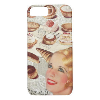 Capa iPhone 8/ 7 senhora retro Paris da pastelaria do cupcake da