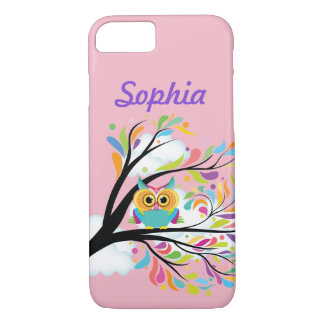Capa iPhone 8/ 7 Seu cobrir protetor da coruja colorida conhecida