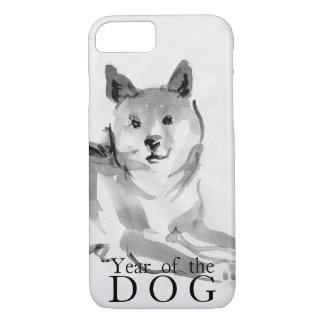 Capa iPhone 8/ 7 Shiba Inu que pinta o ano chinês 2018 Case2 do cão