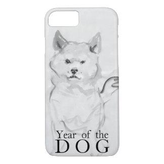 Capa iPhone 8/ 7 Shiba Inu que pinta o ano chinês 2018 Case4 do cão