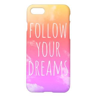 Capa iPhone 8/7 Siga seus sonhos que inspiram o caso cor-de-rosa