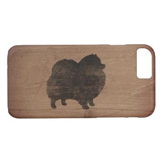 Capa iPhone 8/ 7 Silhueta de Pomeranian rústica