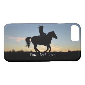 Capa iPhone 8/ 7 Silhueta do cavalo e do cavaleiro personalizada