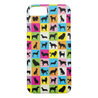 Capa iPhone 8/ 7 Silhuetas bonitos coloridas dos cães