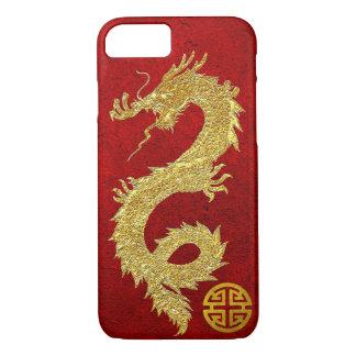 Capa iPhone 8/ 7 Símbolo chinês da prosperidade do dragão do ouro