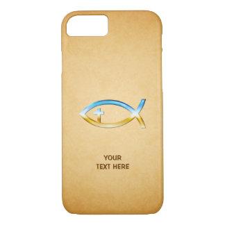 Capa iPhone 8/ 7 Símbolo cristão dos peixes no papirus do vintage