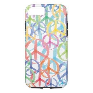 Capa iPhone 8/ 7 Símbolos de paz coloridos da aguarela