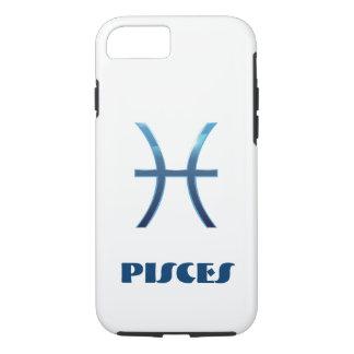 Capa iPhone 8/ 7 Sinal azul do zodíaco dos peixes no branco
