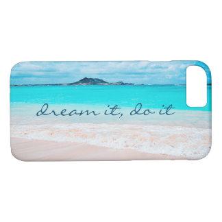 """Capa iPhone 8/ 7 """"Sonhe-o, faça-o"""" foto azul do oceano e do Sandy"""