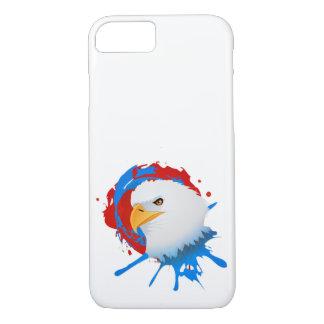 Capa iPhone 8/ 7 Spatter branco da águia americana americana & azul