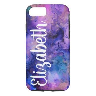 Capa iPhone 8/ 7 Splatter boémio roxo & azul & nome da tinta