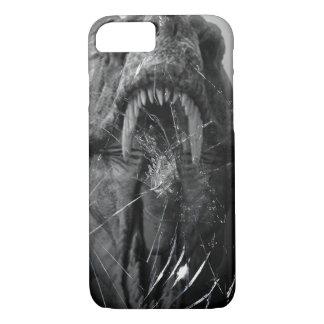 Capa iPhone 8/ 7 T-Rex irritado, tiranossauro que ataca, vidro