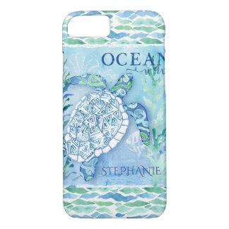 Capa iPhone 8/ 7 Tartaruga de mar moderna do teste padrão do
