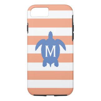 Capa iPhone 8/ 7 Tartaruga de mar & monograma azuis náuticos das