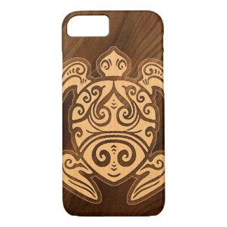 Capa iPhone 8/ 7 Tartaruga havaiana de madeira do falso de Honu do