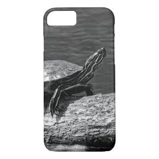 Capa iPhone 8/ 7 Tartaruga pintada em um registro (B&W)