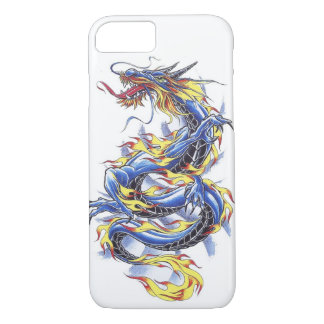 Capa iPhone 8/ 7 Tatttoo azul japonês oriental legal do dragão