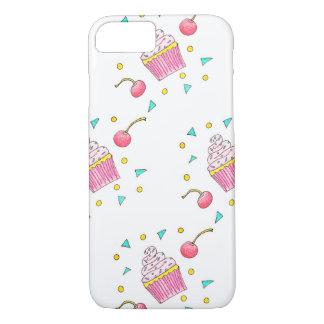 Capa iPhone 8/ 7 Telefone desenhado mão bonito do cupcake/caso do